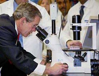 bush microscope curing ebola