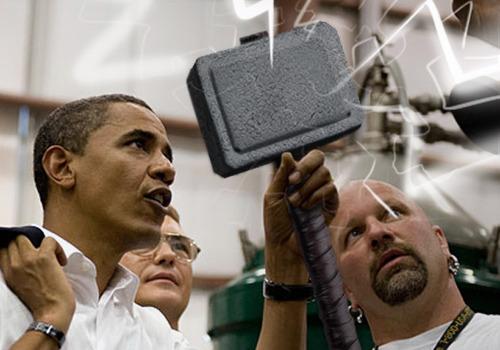 obama wielding Mjölnir