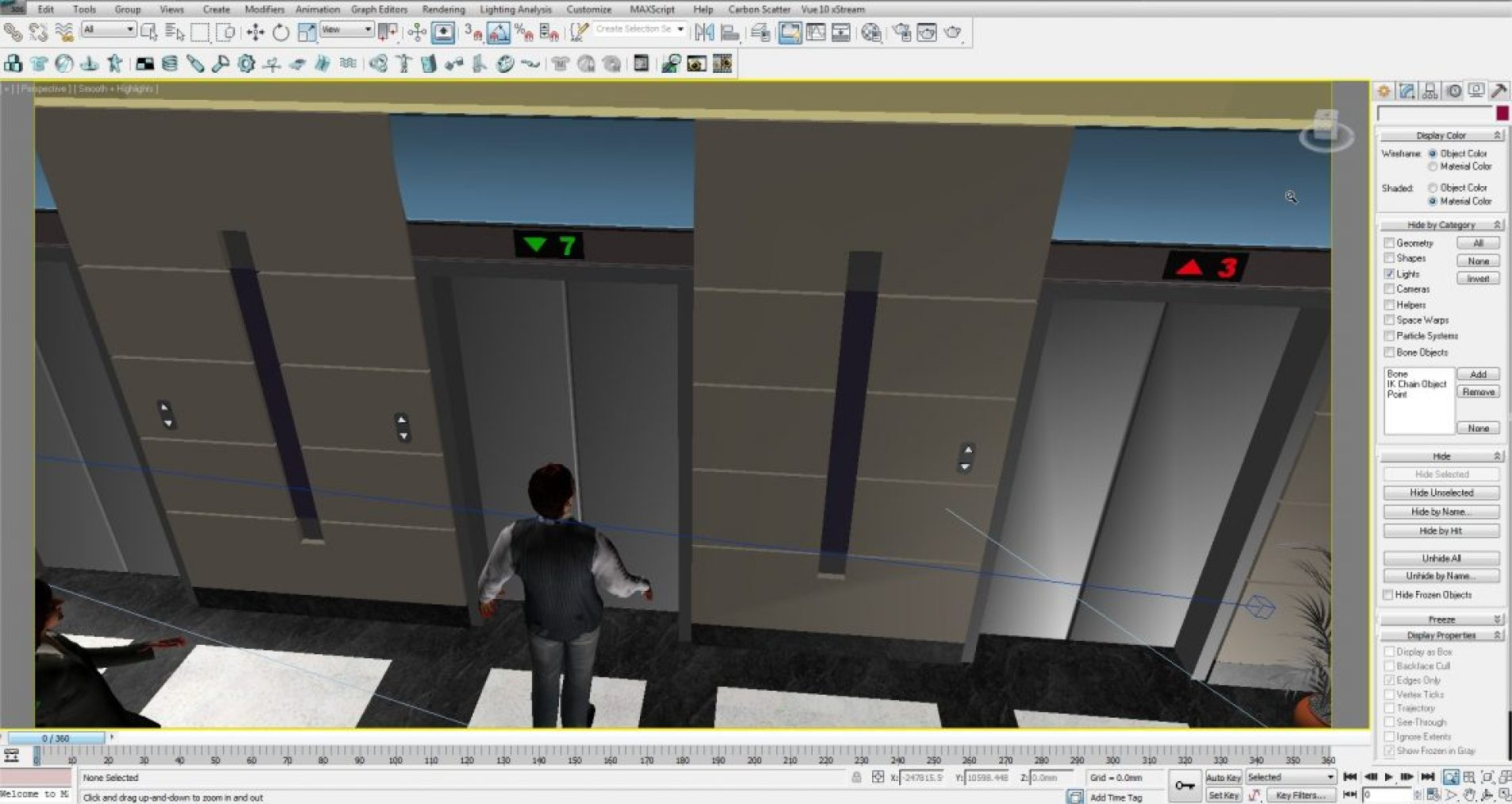 lift lobby animation.max - Autodesk 3ds Max Design 2011 x64  - Unregistered Version