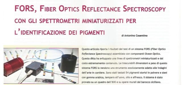 FORS, Fiber Optics Reflectance Spectroscopy con gli spettrometri miniaturizzati per l'identificazione dei pigmenti