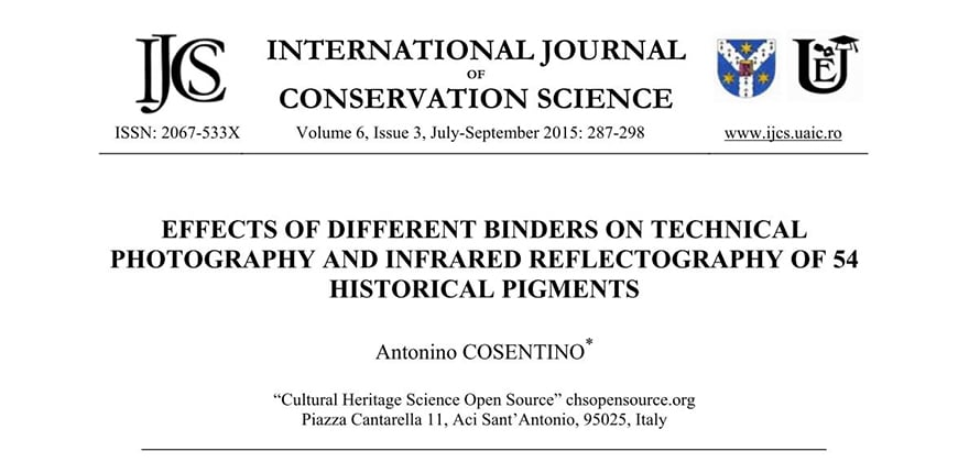 Effect of different binders on technical photography