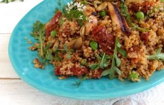 Healthy Quinoa Salad & Sun Dried Tomato Pesto Recipe