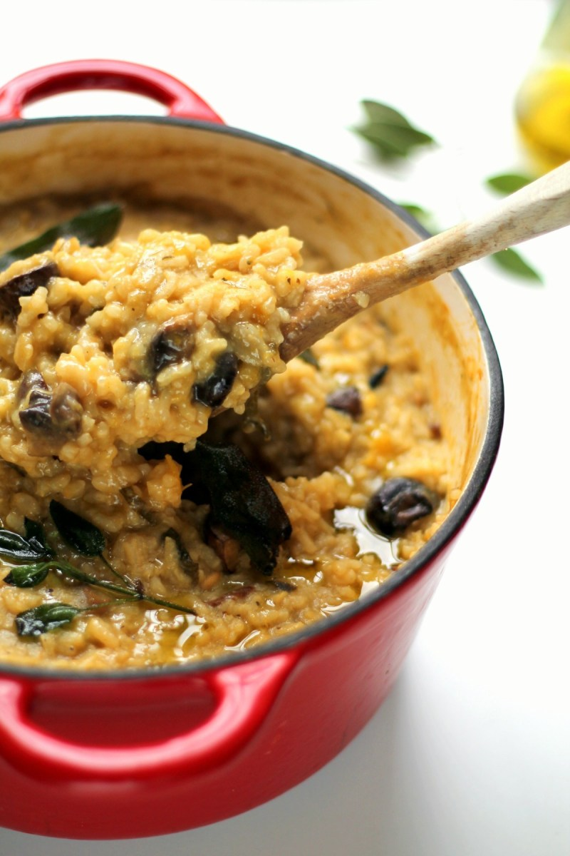 Autumn baked risotto with squash, mushrooms and sage