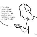 Cartoon about mobile phones. Smartphones.