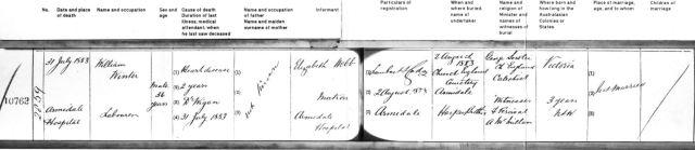 1883 Death certificate William WINTER Armidale NSW