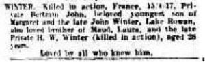 1917 Death notice for Bertram John WINTER KIA 15.4.17. The Argus 15 May.