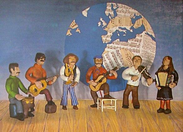 Cartell del grup Viva la vida amb figures dels músics. Al centre Carles Andreu amb el peu a la cadira i Bernard Vitet a la seva dreta.