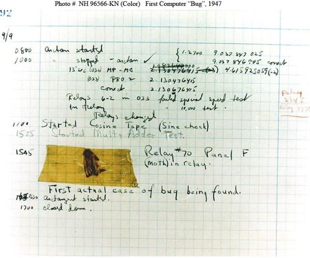 O primeiro caso de um bug (em inglês, um bicho tipo insecto) num programa. Uma traça encontrada no painel F do relé electromecânico 70 de um computador Mark II. Os operadores afixaram a traça no relatório dizendo que o computador tinha sido 'debugged', criando assim o termo computacional ainda hoje usado.