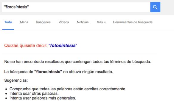 Búsqueda en Google del término «florosíntesis».