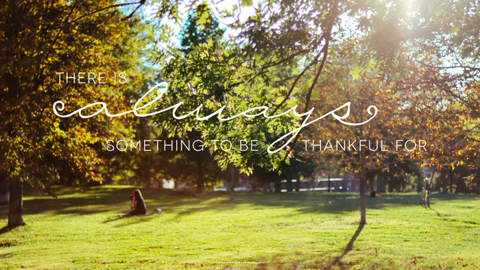 There Is Always Something To Be Thankful Quote Over Park Photograph