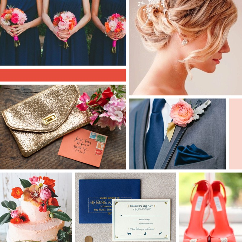 Coral, Navy and Gold Wedding Moodboard