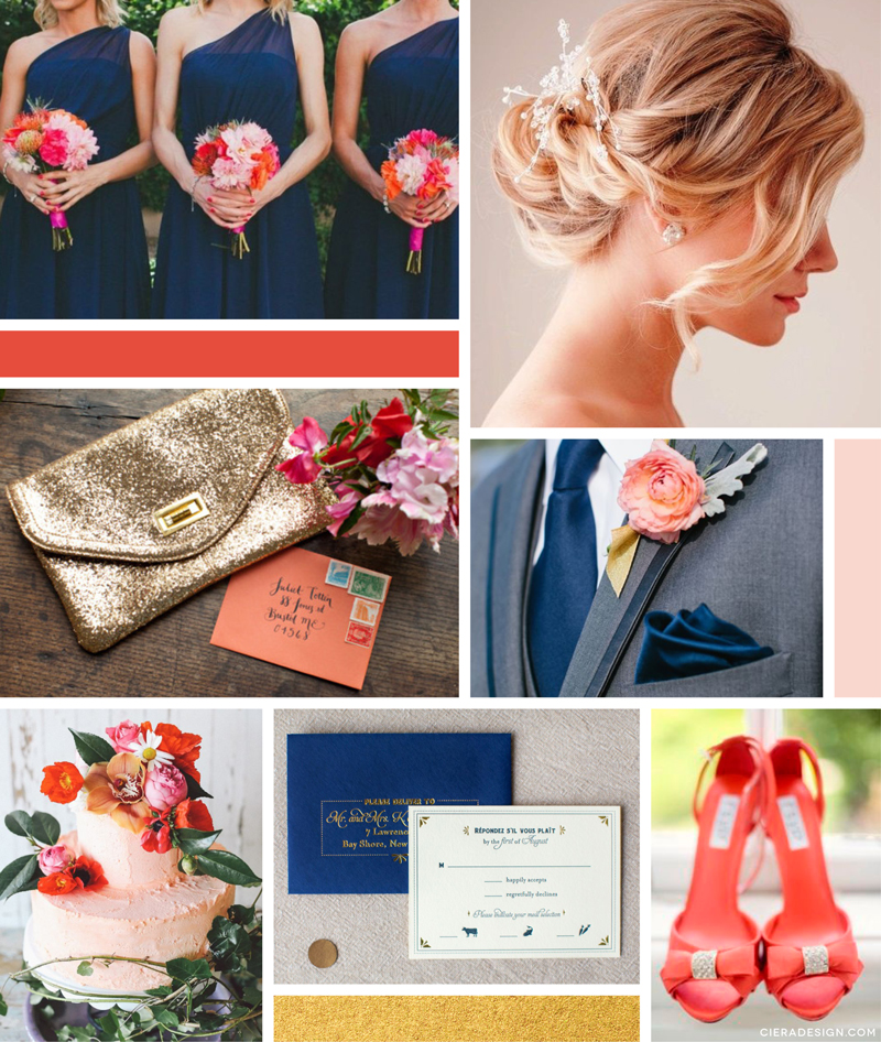 Coral, Navy, Gold Wedding Theme Inspiration