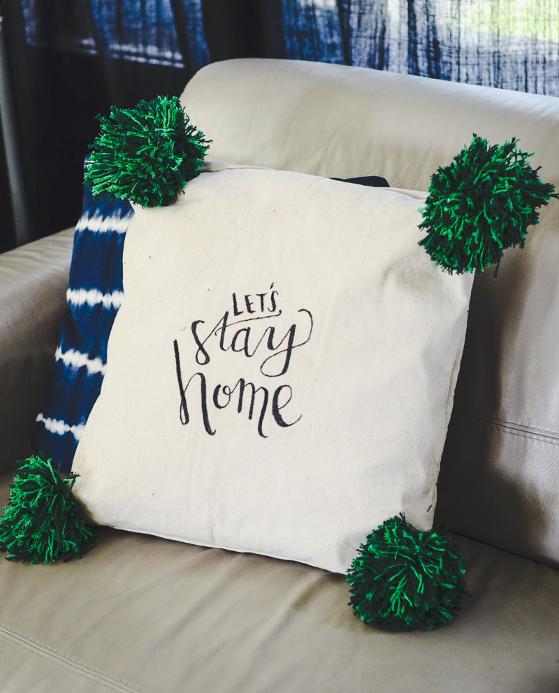 Hand Lettered Giant Pom Pom Pillow