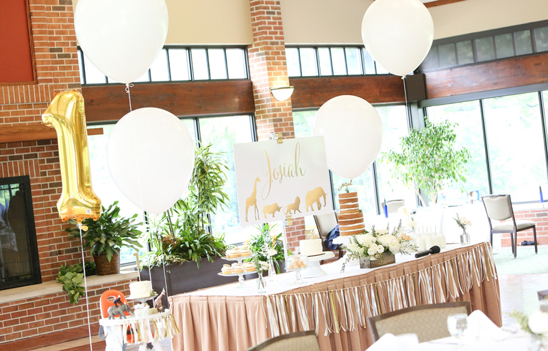 Gold Safari Birthday Party Dessert Table and Jumbo Balloons