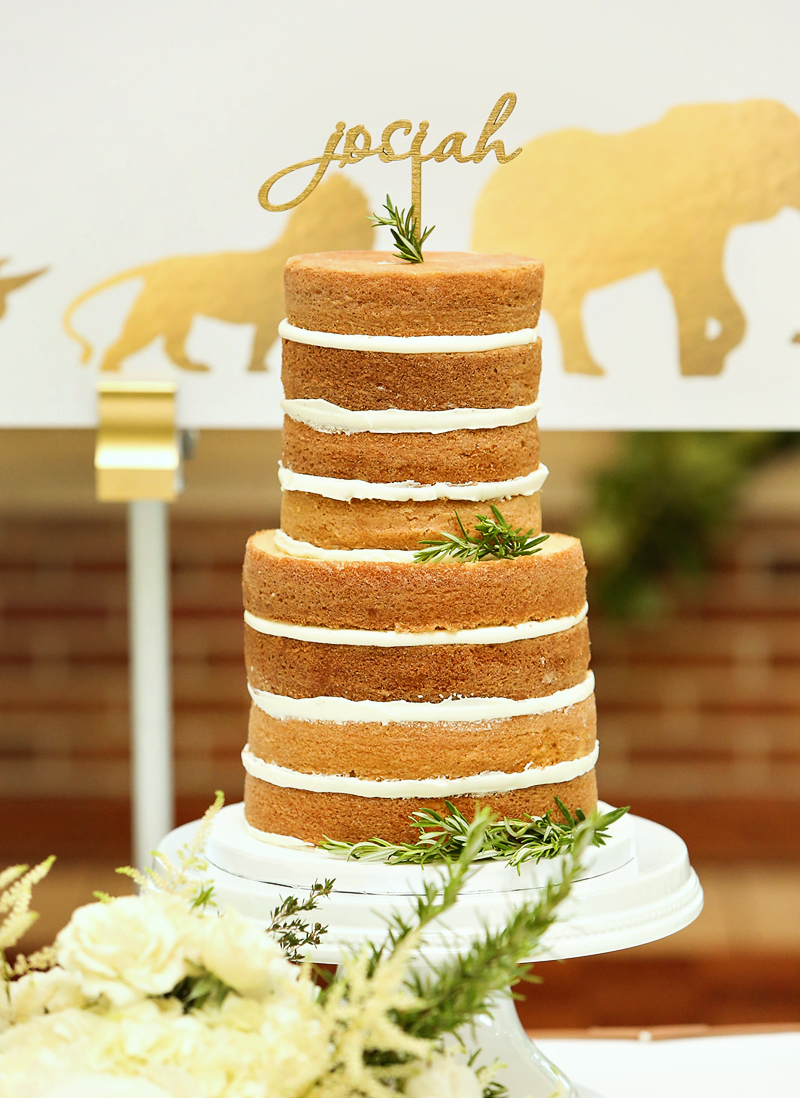 Golded Safari Tiered Naked Layer Cake