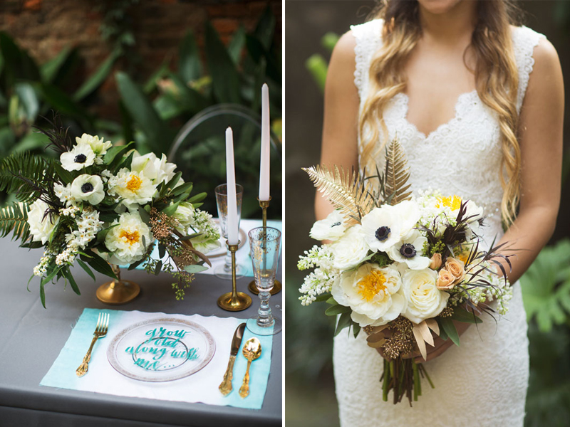 Dip-Dyed-Aqua-Gold-Wedding-Table-Setting-Bouquet