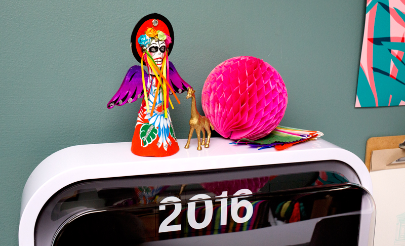 Mexican Day of the Dead Desk Detail