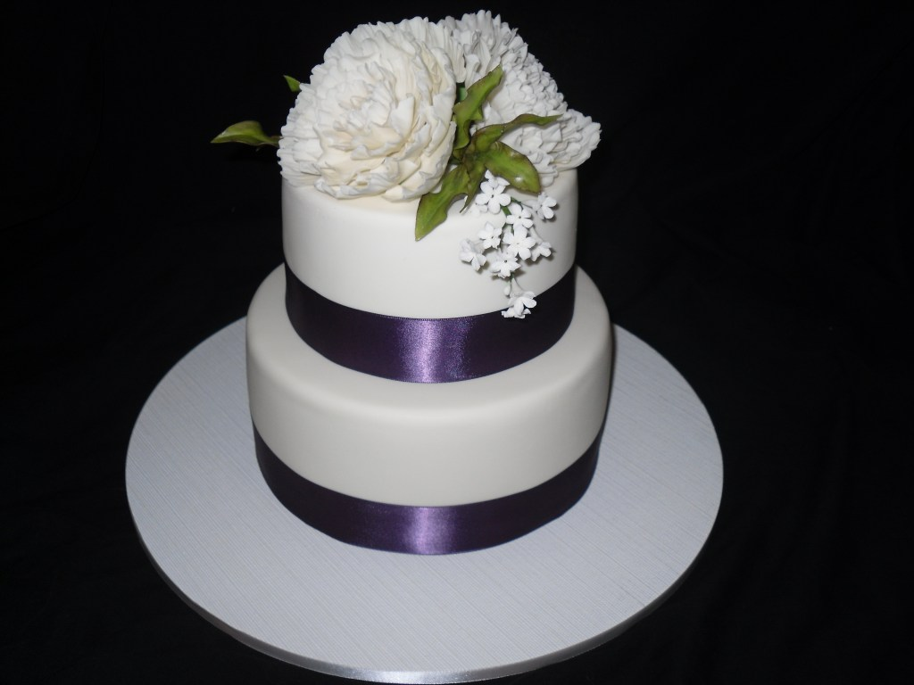 Purple band 2 tier wedding cake