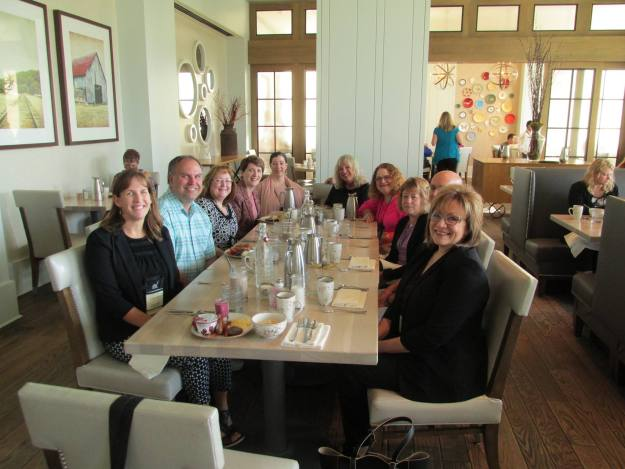 OH ACFW group at breakfast, including some husbands. Mine is hiding to make sure I get in the pic.