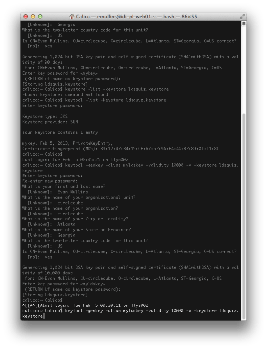 terminal creating a keystore file for android apk