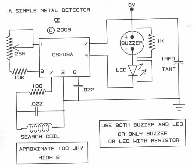 Simple Metal Detector Based Cs209a Schematic Design