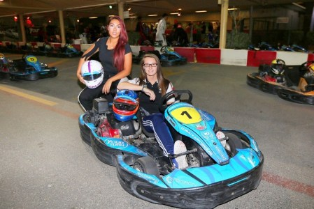 Nadia Khan (left) & Abi Birch sitting pretty at the top of the world rankings for SWS karting