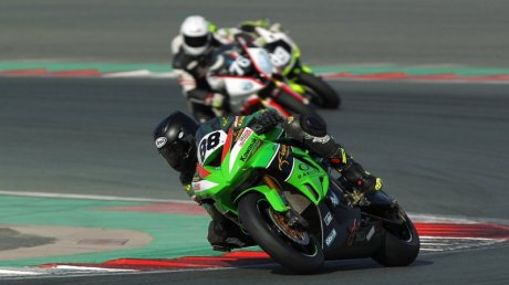 Kawasaki rider Abdulaziz Binladen scored a double win on the day at Dubai Autodrome