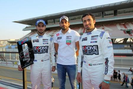SkyDive Dubai Falcon Racing Team (L to R) Saeed Al Mehairi, Hadi Bloushi (Manager) and Sheikh Hasher Al Maktoum