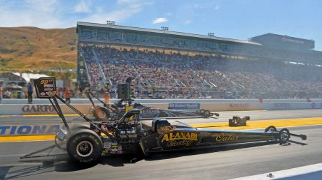 In July 2014, Dubai's Khalid al Balooshi, near lane, races to his second win of the season against his teammate, Shawn Langdon, in the 27th annual NHRA Sonoma Nationals in Sonoma, Calif.  (Photo Courtesy: Auto Imagery)