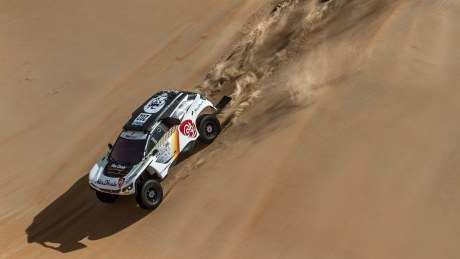 Abu Dhabi Racing's Sheikh Khalid Al-Qassimi takes a stunning victory in the Abu Dhabi Desert Challenge with his new Peugeot 3008 DKR