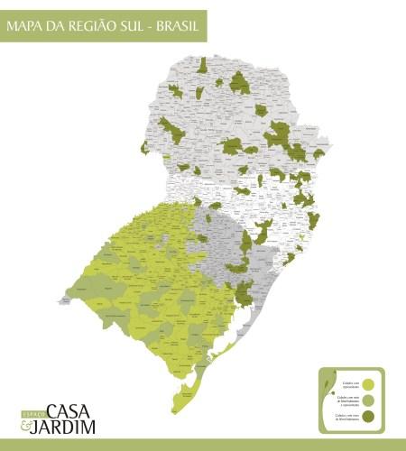 Mapa Região Sul  com Limites de Municípios