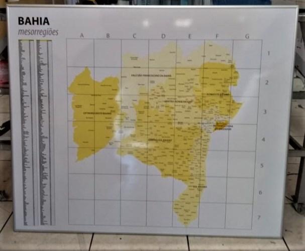 Mapa magnético Bahia com mesorregiões.