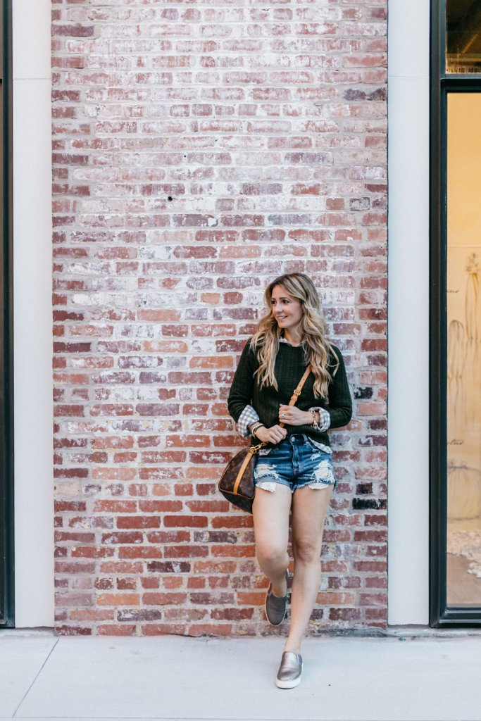 city-peach-plaid-cable-sweater-with-denim-shorts