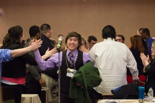 Tully celebrating after winning in his election. (Photo courtesy of Mr. Christography)
