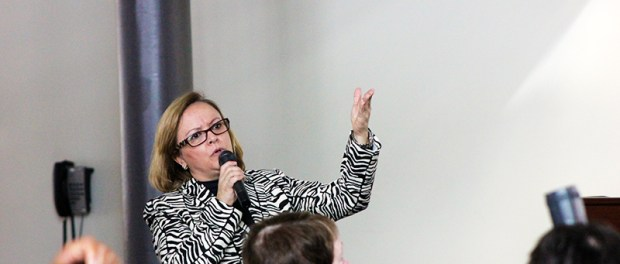 Vanessa Fusco, Prosecutor and Coordinator of the Training Group on Cybercrime in the Attorney General's Office of the state of Minas Gerais in Brazil, describes the impact of sex trafficking around the world. (Photos: James Healy/City College News)