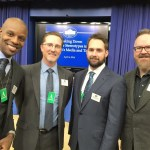Dads were well-represented at a recent White House conference on gender stereotypes in media and toys. From left: Doyin Richards of L.A. Dads Group, City Dads Group columnist Carter Gaddis, Charlie Capen of L.A. Dads Group, and Designer Daddy blogger Brent Almond. Photo: Carter Gaddis.