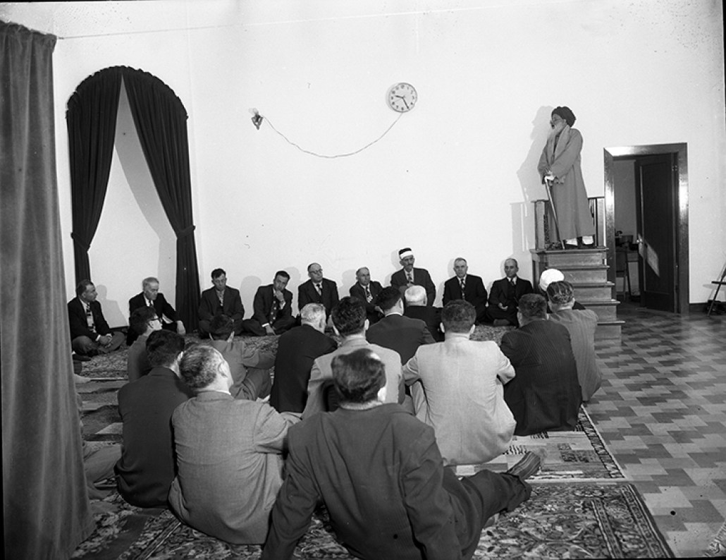 Members of Al-Rashid Mosque celebrated Feast of Abraham's Sacrifice, led by Shah Maulana Mohammed Abdul Aleem Siddiqui Al-Qaderi September 22, 1950. Image courtesy of the City of Edmonton Archives EA-600-5033a.