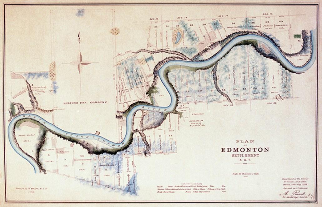 Plan of Edmonton Settlement c.1882. Image courtesy of the City of Edmonton Archives EAM-85.