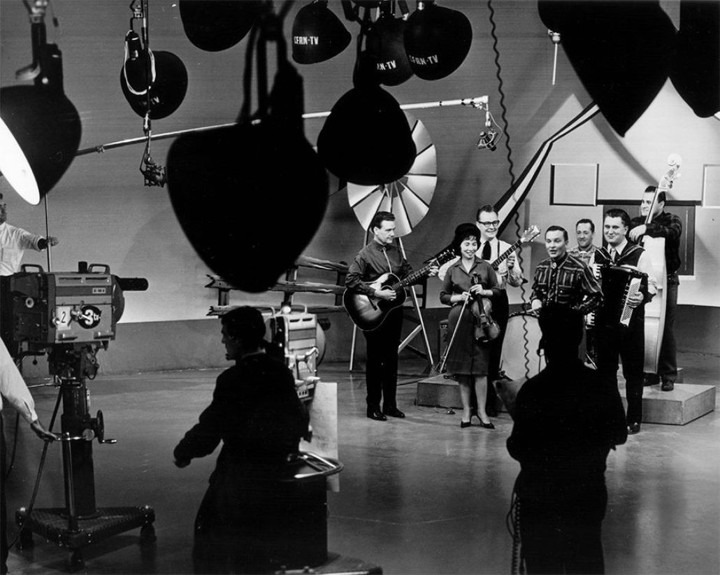 The Noon Show, CFRN-TV, 1960s. Clarence Plouff, Ed Kay, Gaby Haas, Rusty Campbell on bass and Don Brinton. Courtesy: Ed Kay © 2009 Al Girard