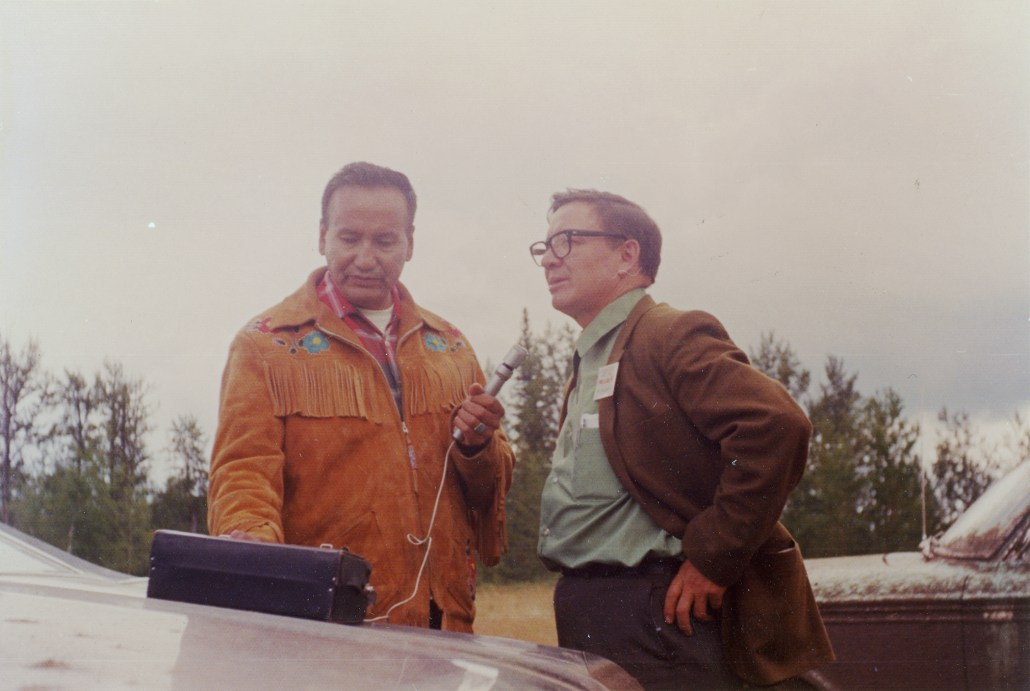 PR1999.465/268-2 (1969): Eugene Steinhauer interviews Stan Daniels, two of the founders of the Alberta Native Communications Society. Image courtesy of the Provincial Archives of Alberta.