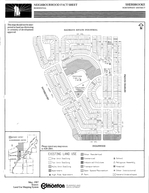 Sherbrooke Neighbourhood Plan, 1987. City of Edmonton Archives.