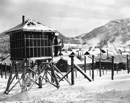 Guard tower overlooking prisoner of war camp, Kananaskis, Alberta circa 1939. Image courtesy of the Glenbow Archives: NA-5474-4.