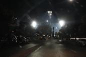 Manuka Oval's new lights from the Manuka shops.