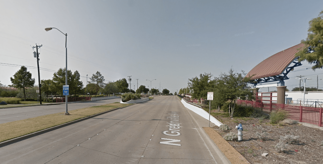 The Arapaho light rail stop in Dallas. Credit: Google Maps