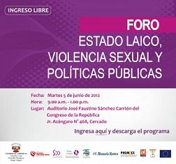 15.Perú: El Congreso de la República y diversas organizaciones feministas organizan el foro: Estado laico, violencia sexual y políticas públicas