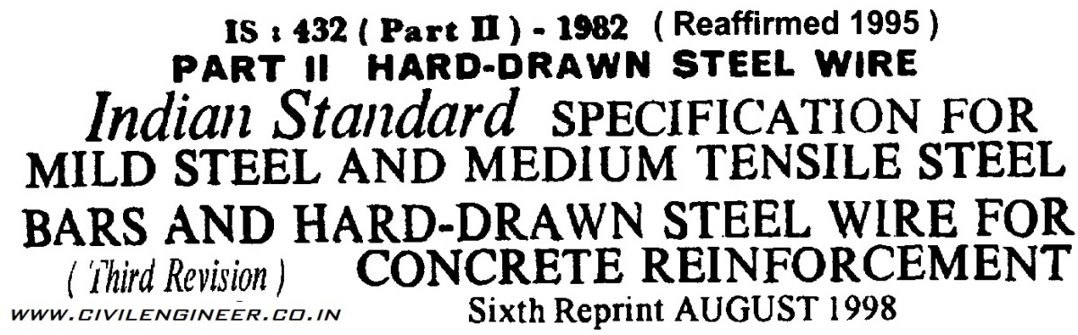IS : 432 Part II 1982 IS  Code for Hard Drawn Steel Wire