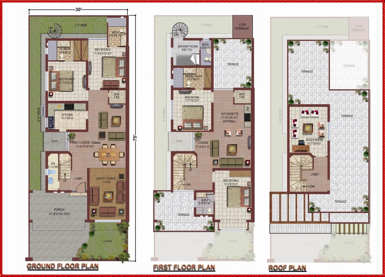 10 Marla House Plan Civil Engineers Pk