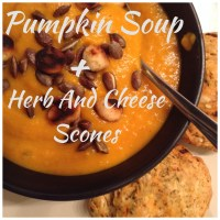 Pumpkin Soup with Toasted Macadamia Nuts + 10 Minute Herb & Cheese Scones
