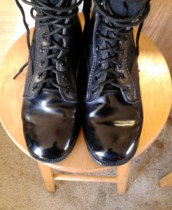 pair of polished black jungle boots