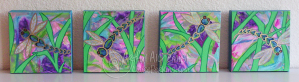 """""""Dragonfly Garden"""" Collection. 4 panels, acrylic on 6"""" x 6"""" x 1 1/2"""" deep stretched canvas."""